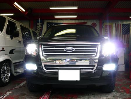 アメ車 フォード エクスプローラー カスタム HID ヘッドライト フォグライト 6000k ポジション LED カスタムパーツ 専門店 大阪 ガレージアクト