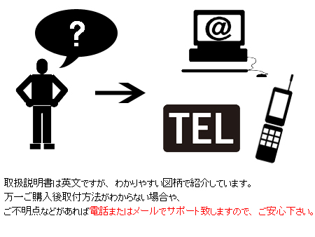 取扱説明書は英文ですが、わかりやすい図柄で紹介しています。万一ご購入後取付方法がわからない場合やご不明点などがあれば電話またはメールでサポート致しますのでご安心下さい。